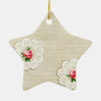 Vintage Rosedoily-Tapete Keramik Stern-Ornament