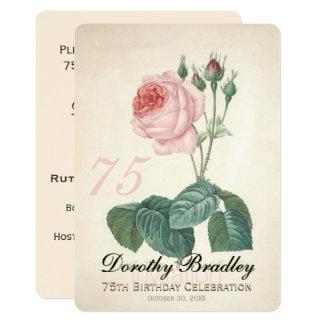 Vintage Rosen 75. Geburtstags Feier Gewohnheit I Karte