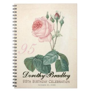 Vintage Rosen-95. Geburtstags-Feier-Gast-Buch Notizblock