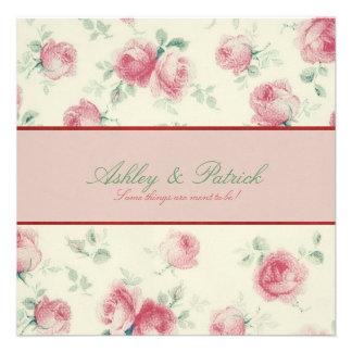 Vintage Rosen-Beschaffenheits-Hochzeits-Einladung
