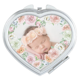 Vintage Rosen-Blumen  kundenspezifisches Foto Taschenspiegel