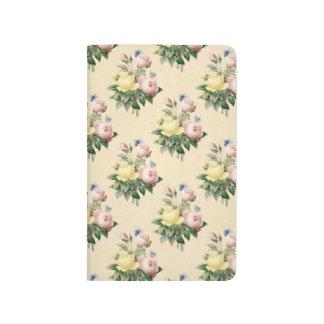 Vintage Rosen-Blumen-Mustermit blumenzeitschrift Taschennotizbuch