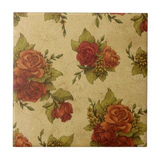 Vintage Rosen-Blumentapeten-beunruhigte Rote Rosen Fliese