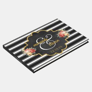 Vintage Rosen der moderne Hochzeits-Schwarz-weiße Gästebuch