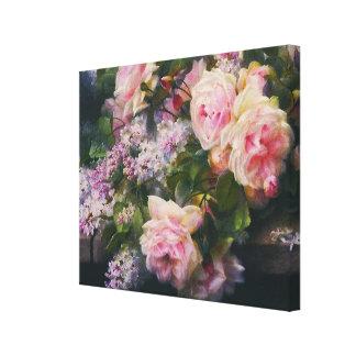 Vintage Rosen-Garten-Kaskade eingewickelt Leinwanddruck