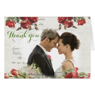 Vintage Rosen-Hochzeit danken Ihnen zu kardieren Karte