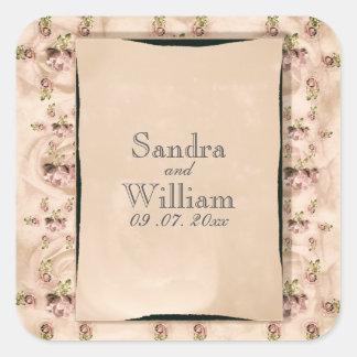Vintage Rosen-Hochzeits-Einladung Quadratischer Aufkleber