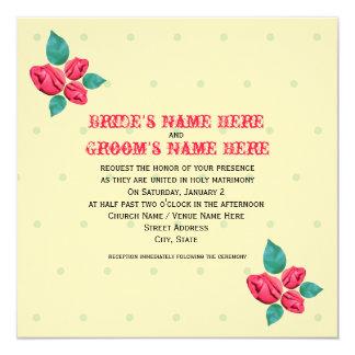Vintage Rosen-Hochzeits-Einladung von der Braut u.