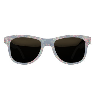 Vintage Rosen-klassischer blauer Farbdamast mit Sonnenbrille