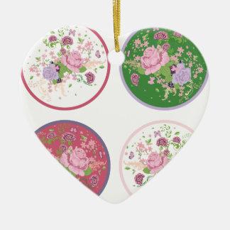 Vintage Rosen-runde Verzierung 2 Keramik Herz-Ornament