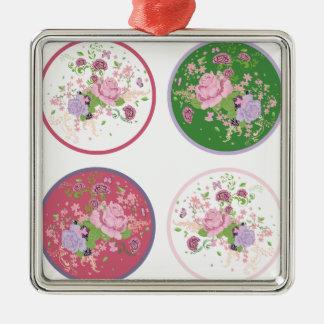 Vintage Rosen-runde Verzierung 2 Quadratisches Silberfarbenes Ornament