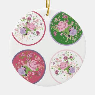 Vintage Rosen-runde Verzierung 2 Rundes Keramik Ornament