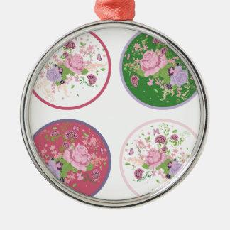 Vintage Rosen-runde Verzierung 2 Rundes Silberfarbenes Ornament