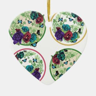 Vintage Rosen-runde Verzierung Keramik Herz-Ornament