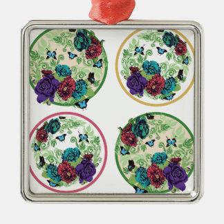 Vintage Rosen-runde Verzierung Quadratisches Silberfarbenes Ornament