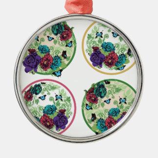 Vintage Rosen-runde Verzierung Rundes Silberfarbenes Ornament