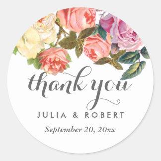 Vintage Rosen-Shabby Chic-Hochzeit danken Ihnen Runder Aufkleber