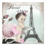 Vintage Rosen-Turm-Paris-Baby-Dusche Individuelle Einladung