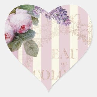 Vintage Rosen und Flieder Herz-Aufkleber