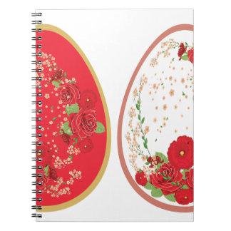 Vintage Rosen-Verzierung auf Eiern Spiral Notizblock