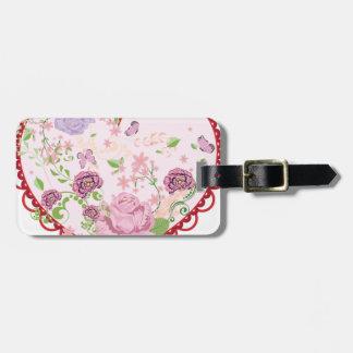 Vintage Rosen Verzierung und Herz 2 Gepäckanhänger