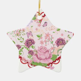 Vintage Rosen Verzierung und Herz 2 Keramik Ornament