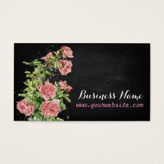 Vintage Roses on black chalkboard Visitenkarte