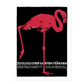 Vintage rote Flamingo München-Zooreiseanzeige Postkarte