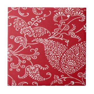 Vintage rote Keramik-Fliese Paisleys Kleine Quadratische Fliese