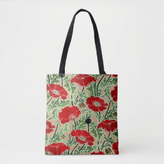 Vintage rote Mohnblume Tasche