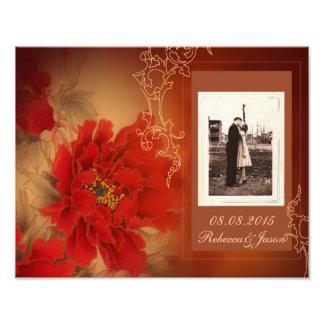 Vintage rote Pfingstrosen-chinesische Hochzeit Fotografie