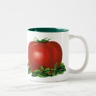 Vintage rote reife Tomate, Gemüse und Früchte Zweifarbige Tasse