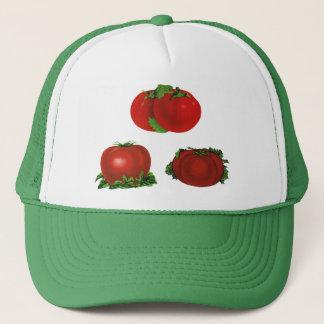 Vintage rote reife Tomaten Nahrung, Früchte, Truckerkappe
