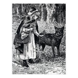 Vintage rote Reithaube im Holz mit Wolf Postkarte