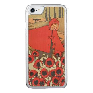 Vintage rote Reithauben-Wolf-Mohnblumen-Blumen Carved iPhone 8/7 Hülle