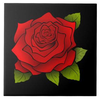Vintage Rote Rose, die schwarze große quadratische Keramikfliese