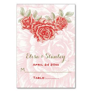 Vintage Rote Rosen, die gefaltete Eskortekarte Karte