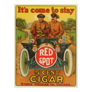Vintage rote Stellen-Zigarren-Anzeigen-Postkarte Postkarte