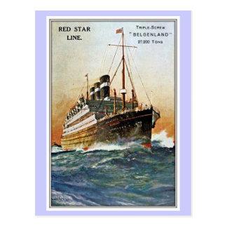 Vintage rote Stern-Linie Belgenland Postkarte
