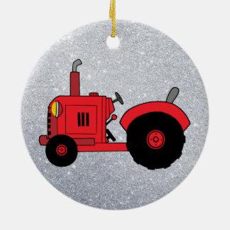 Vintage rote Traktorverzierung Keramik Ornament