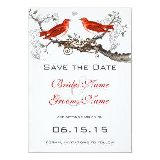 Vintage rote Vögel, die Save the Date Wedding sind Karte
