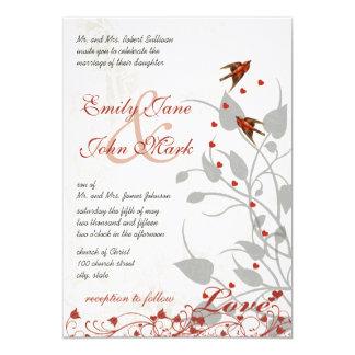 Vintage rote Vogel-Herzen auf silberner Hochzeit Karte