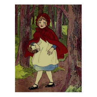 Vintage Rotkäppchen Illustration Postkarte