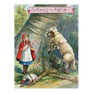 Vintage Rotkäppchen-Illustration Postkarte