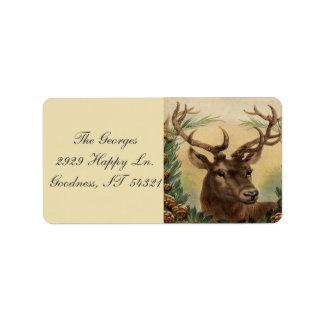Vintage Rotwild-Dollar-Hirsch-Natur-rustikales Adressaufkleber
