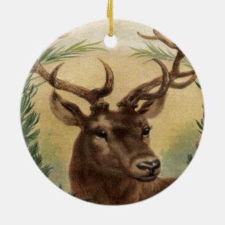 Vintage Rotwild-Dollar-Hirsch-Natur-rustikales Keramik Ornament