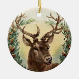 Vintage Rotwild-Weihnachtsverzierung Rundes Keramik Ornament