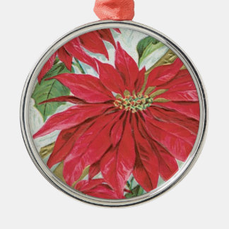 Vintage runde Poinsettia Rundes Silberfarbenes Ornament