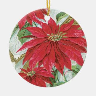 Vintage runde Poinsettia Rundes Keramik Ornament