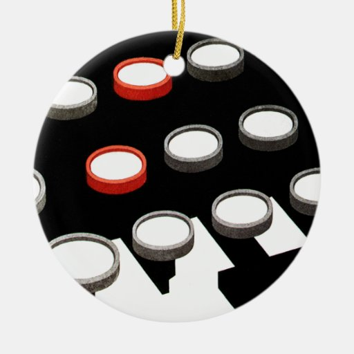 Vintage runde Schlüssel der Geschäfts-Schreibmasch Weihnachtsbaum Ornament